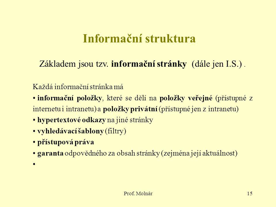 Základem jsou tzv. informační stránky (dále jen I.S.) .