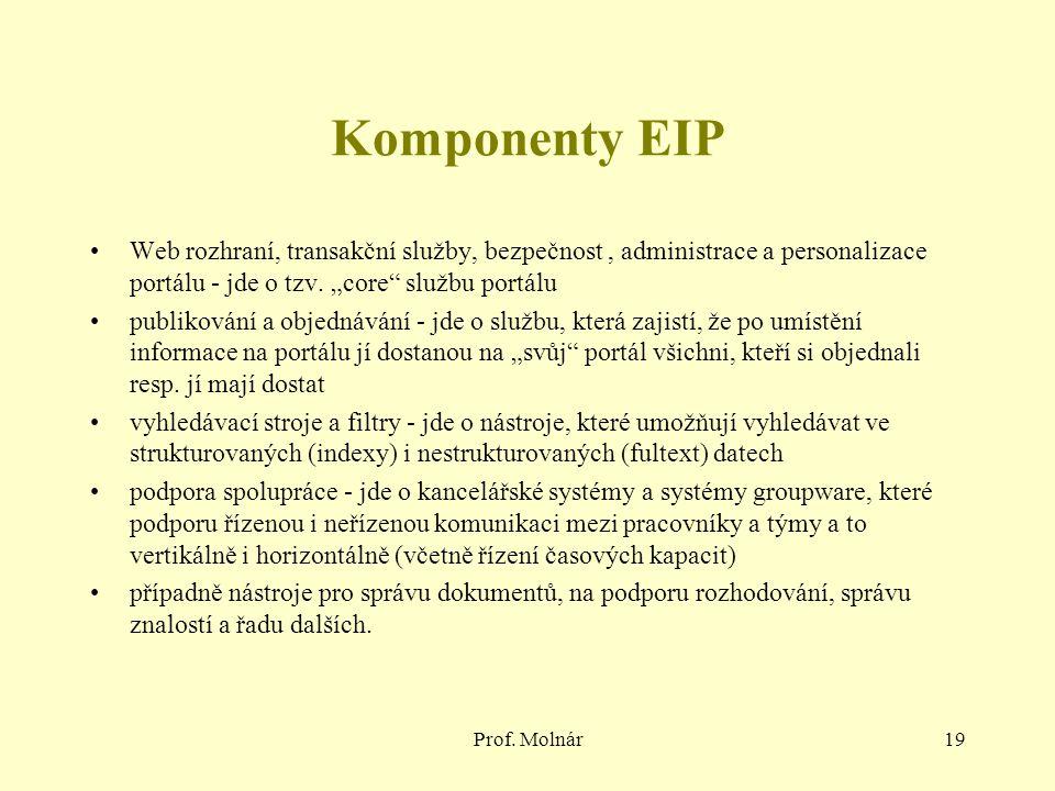 """Komponenty EIP Web rozhraní, transakční služby, bezpečnost , administrace a personalizace portálu - jde o tzv. """"core službu portálu."""
