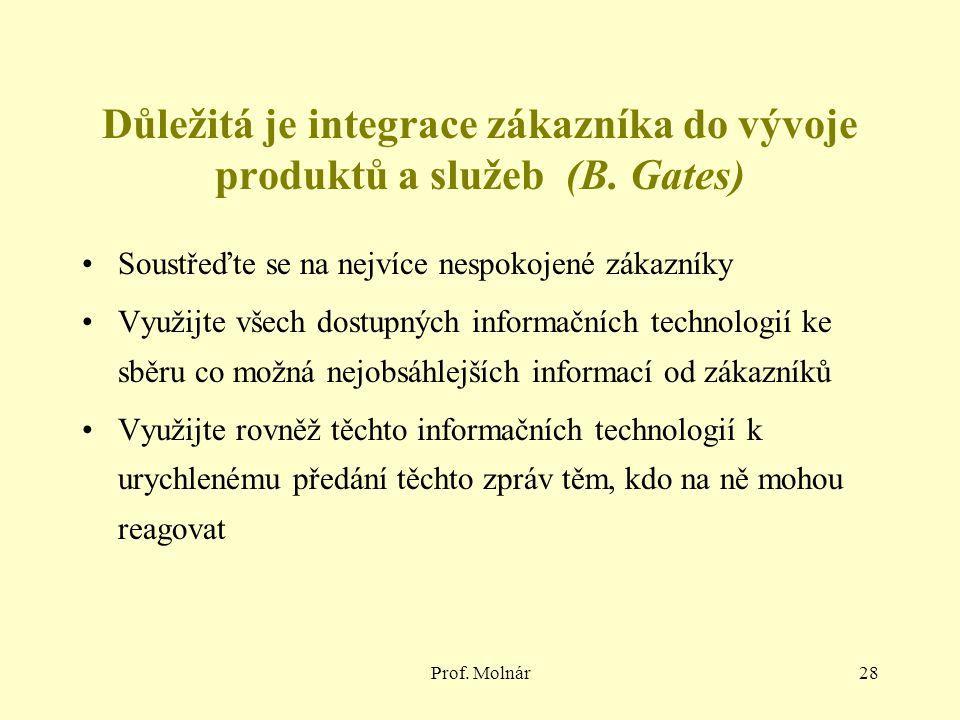Důležitá je integrace zákazníka do vývoje produktů a služeb (B. Gates)