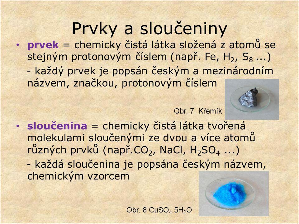 Prvky a sloučeniny prvek = chemicky čistá látka složená z atomů se stejným protonovým číslem (např. Fe, H2, S8 ...)