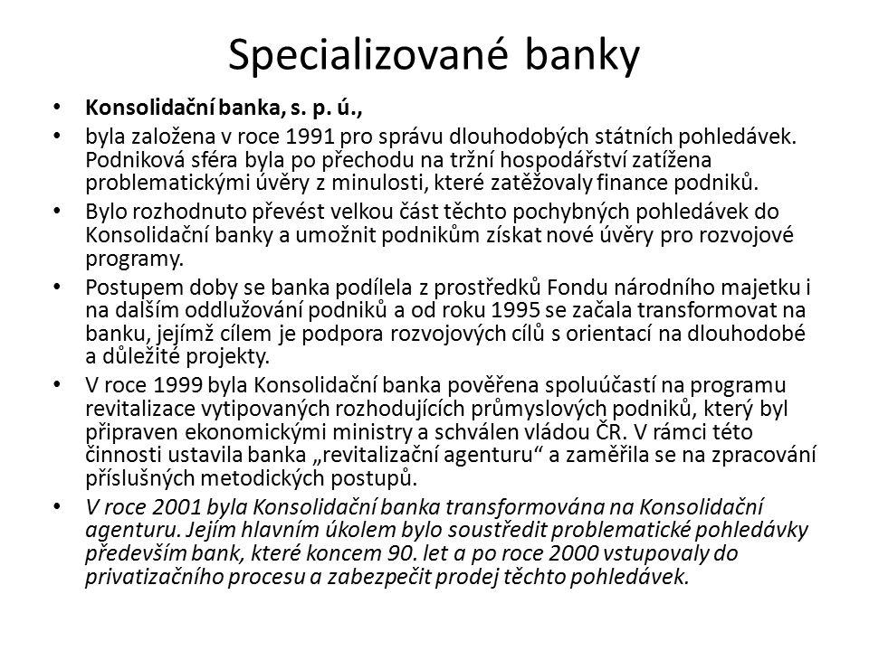 Specializované banky Konsolidační banka, s. p. ú.,