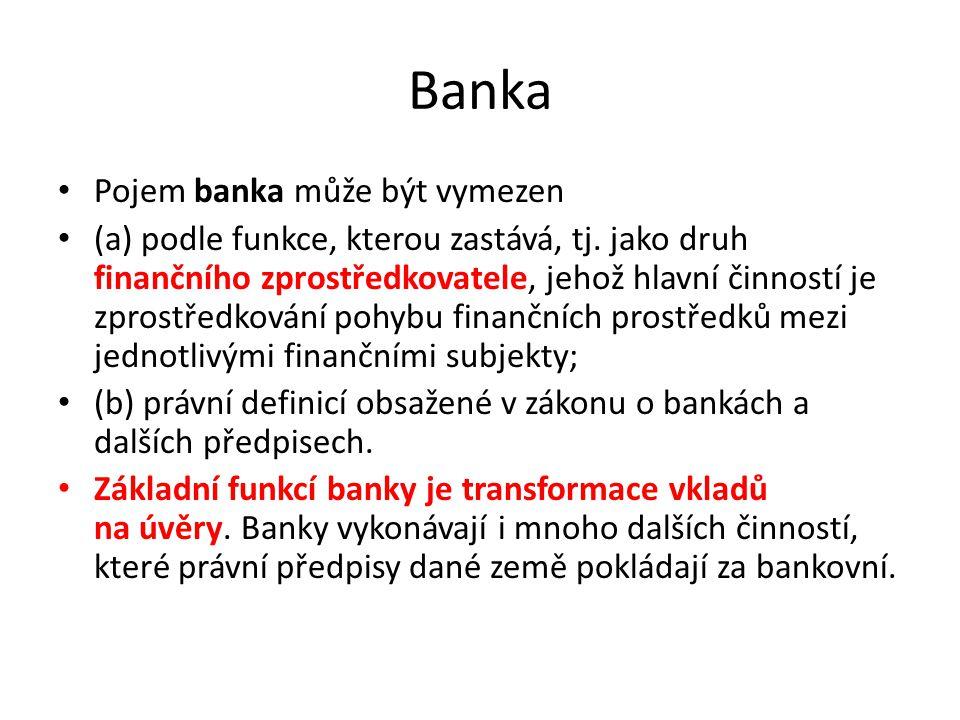 Banka Pojem banka může být vymezen