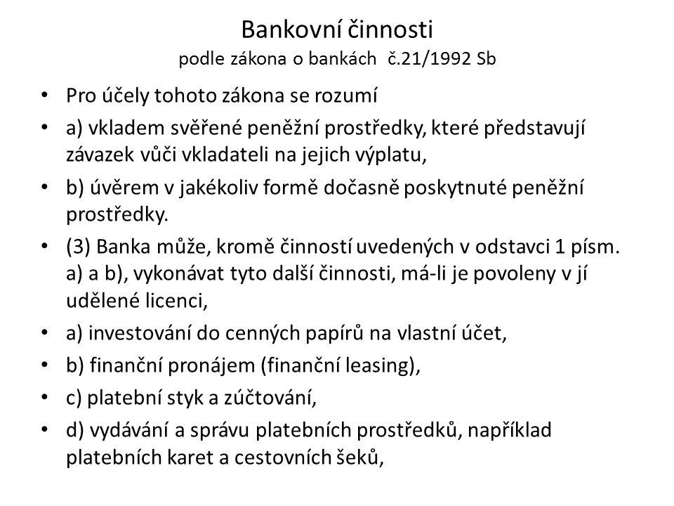 Bankovní činnosti podle zákona o bankách č.21/1992 Sb