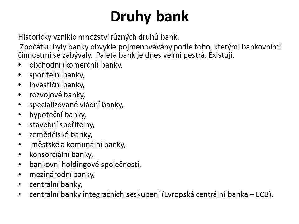 Druhy bank Historicky vzniklo množství různých druhů bank.