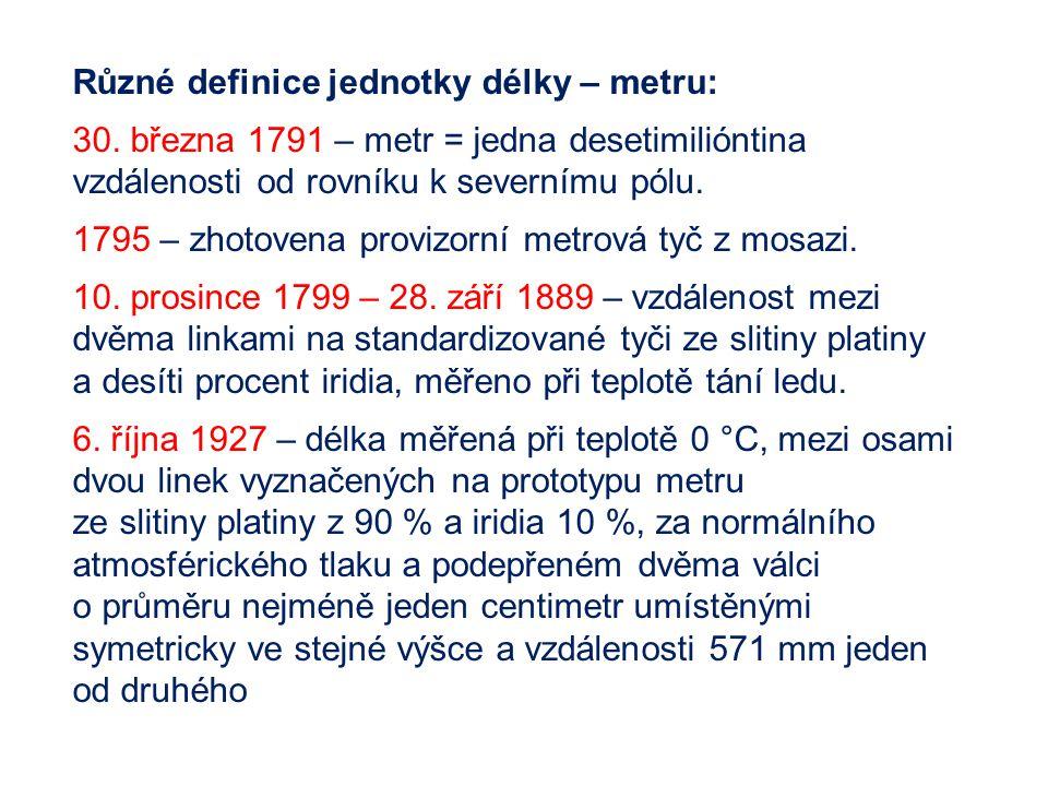 Různé definice jednotky délky – metru: 30