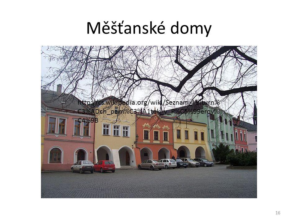 Měšťanské domy http://cs.wikipedia.org/wiki/Seznam_kulturn%C3%ADch_pam%C3%A1tek_v_P%C5%99erov%C4%9B