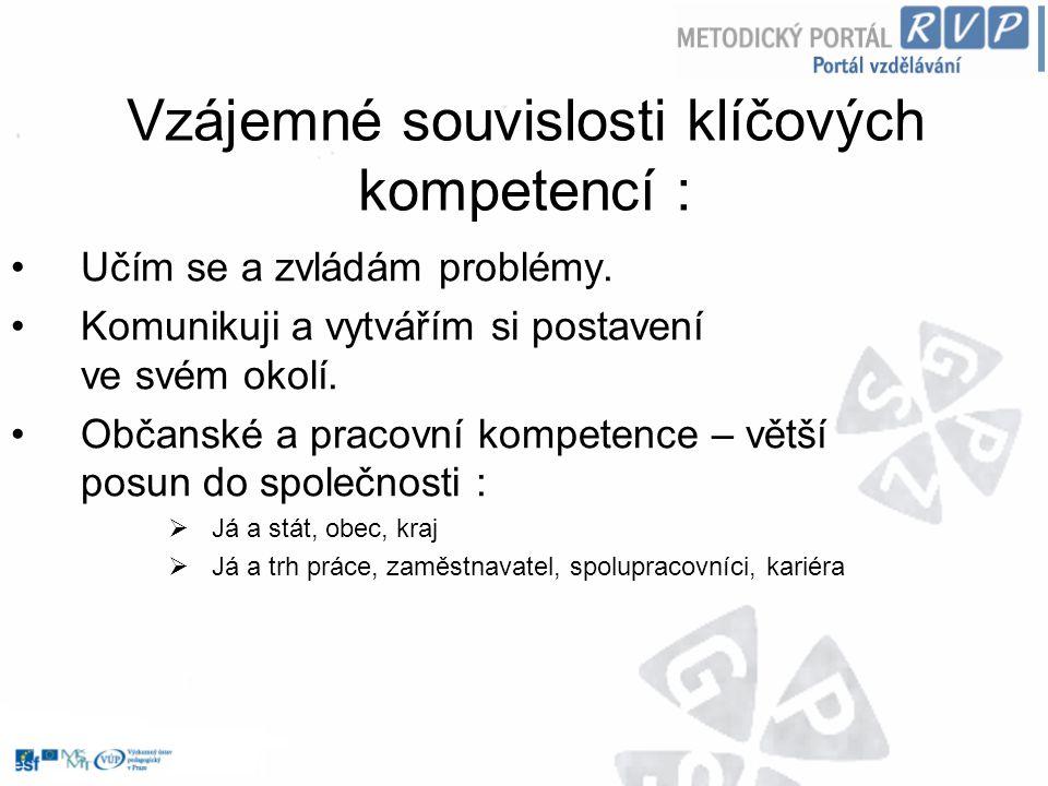 Vzájemné souvislosti klíčových kompetencí :