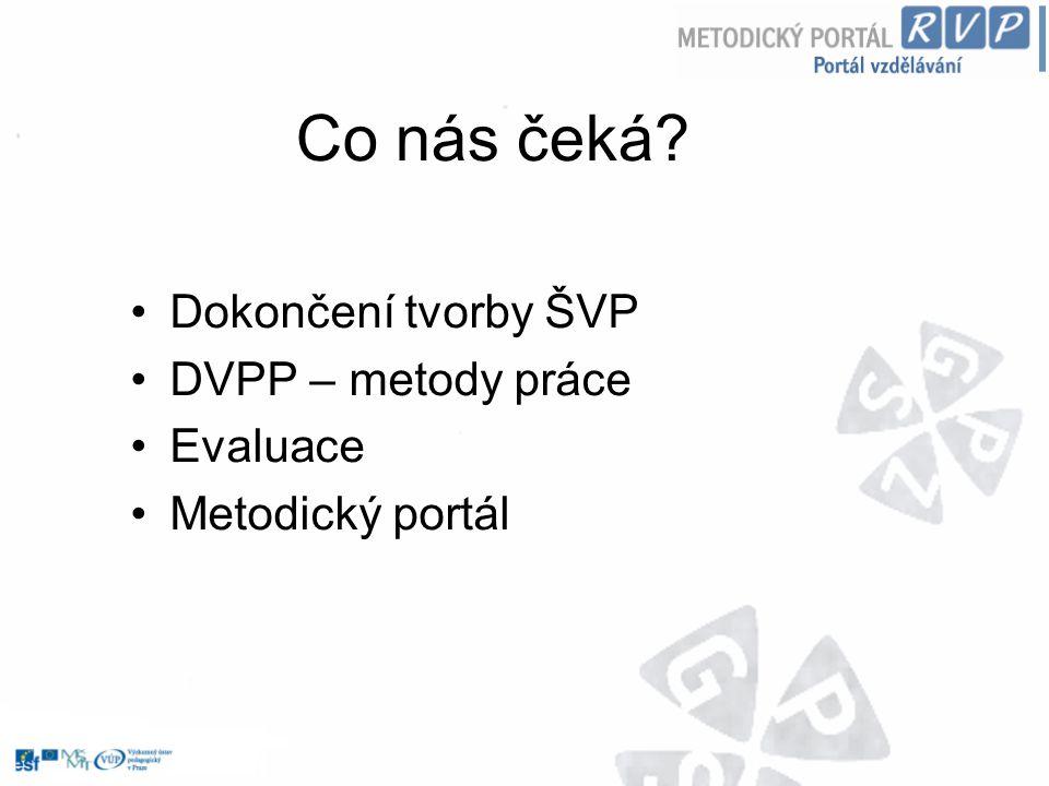 Co nás čeká Dokončení tvorby ŠVP DVPP – metody práce Evaluace