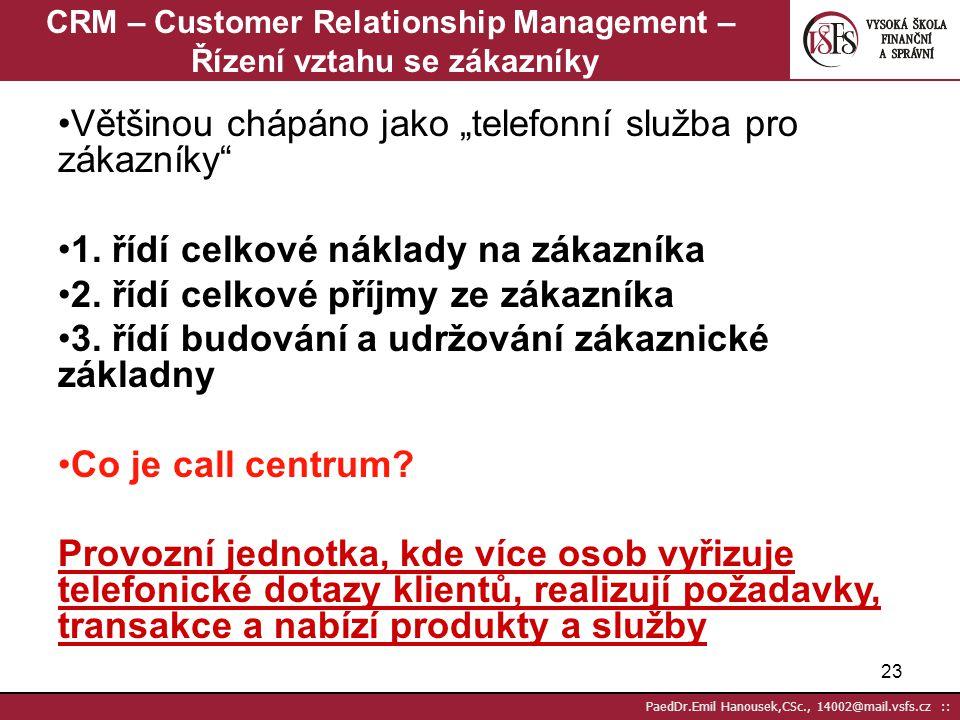 CRM – Customer Relationship Management – Řízení vztahu se zákazníky