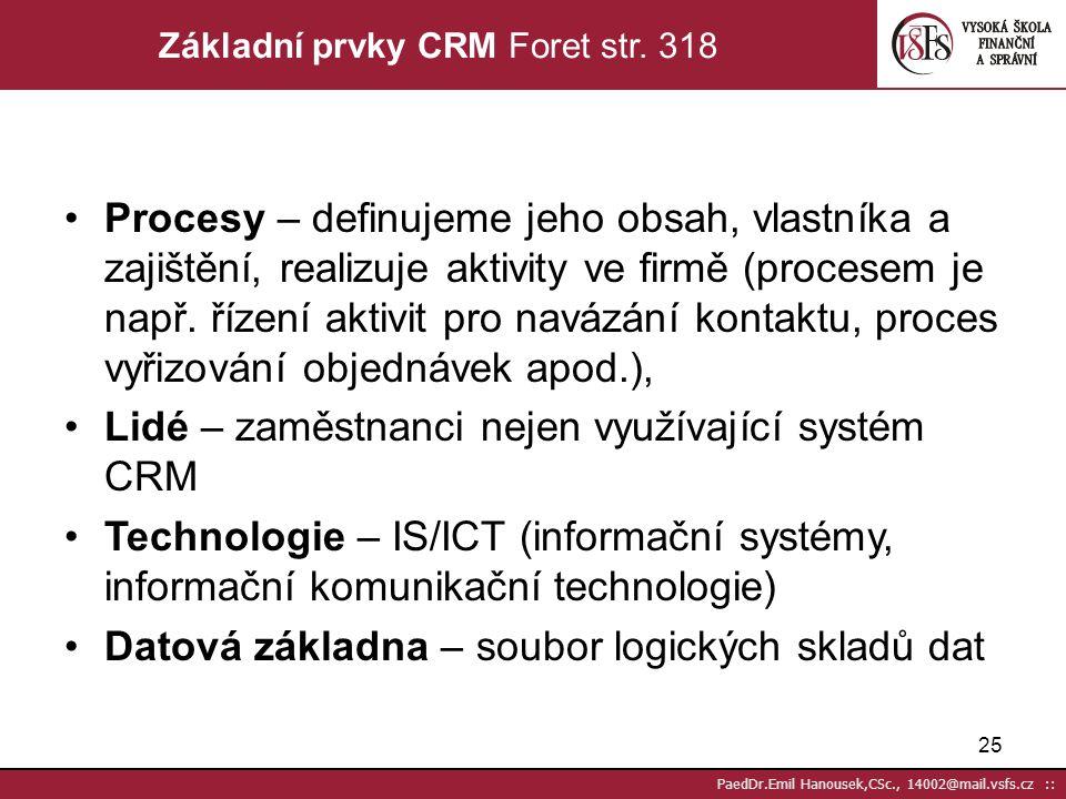 Základní prvky CRM Foret str. 318