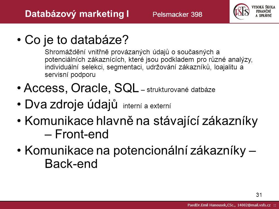 Databázový marketing I Pelsmacker 398