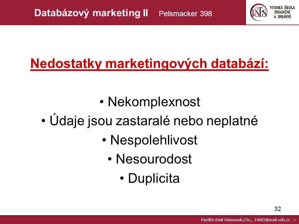 Nedostatky marketingových databází: