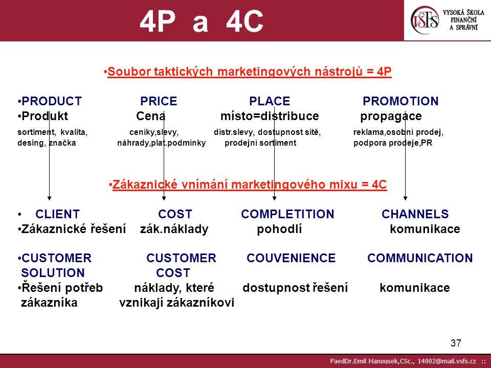 4P a 4C Soubor taktických marketingových nástrojů = 4P