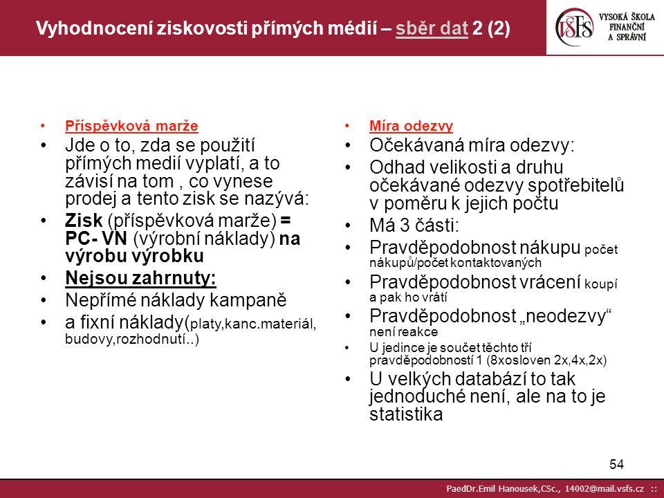 Vyhodnocení ziskovosti přímých médií – sběr dat 2 (2)
