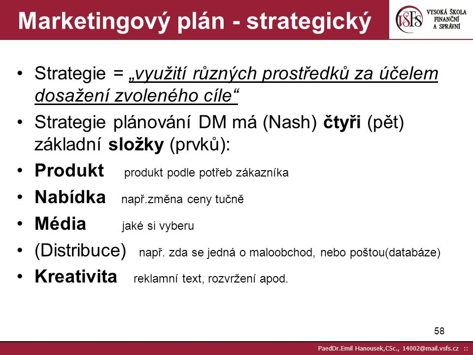 Marketingový plán - strategický