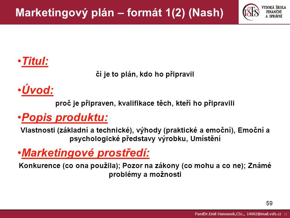 Marketingový plán – formát 1(2) (Nash)