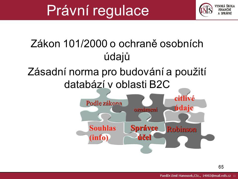 Právní regulace Zákon 101/2000 o ochraně osobních údajů