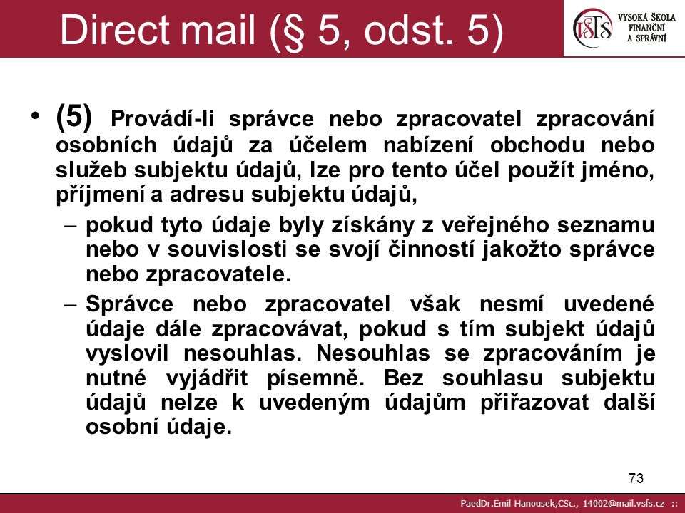 Direct mail (§ 5, odst. 5)