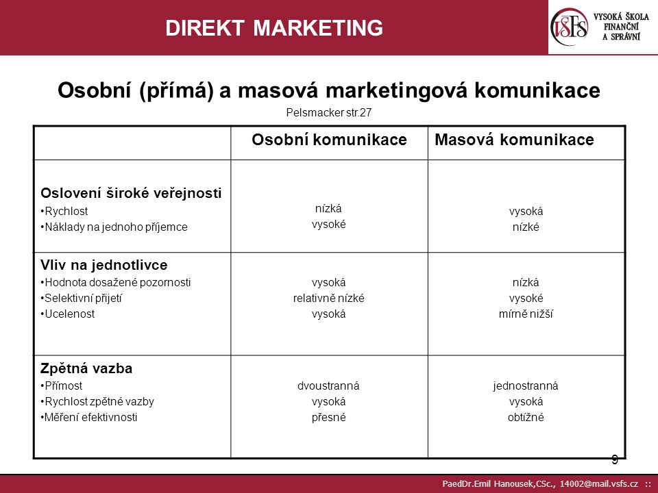 Osobní (přímá) a masová marketingová komunikace Pelsmacker str.27