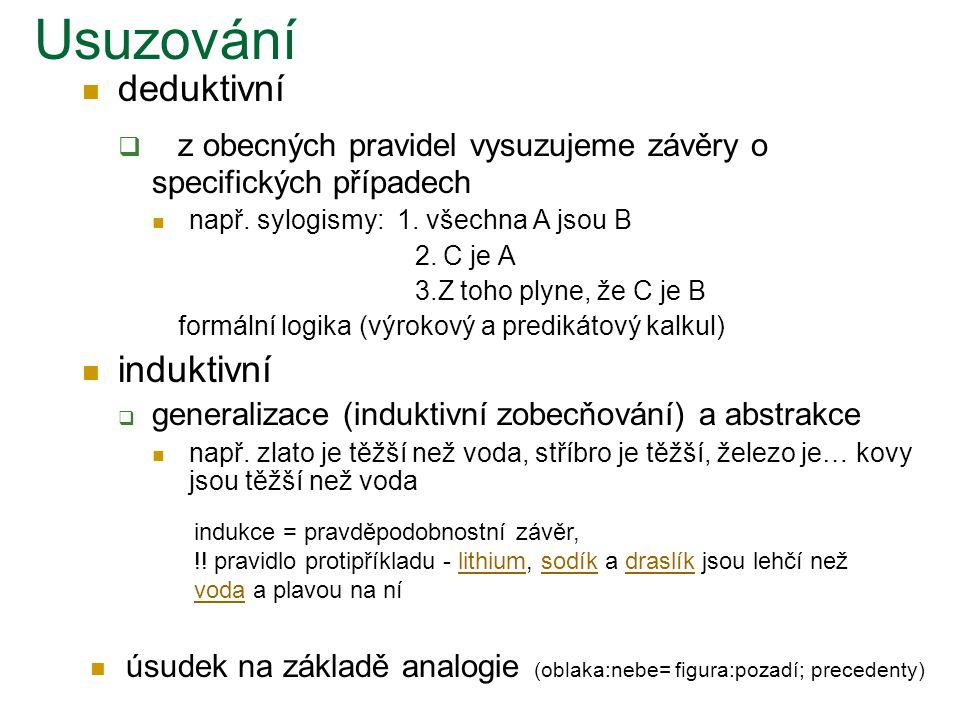 Usuzování deduktivní. z obecných pravidel vysuzujeme závěry o specifických případech. např. sylogismy: 1. všechna A jsou B.