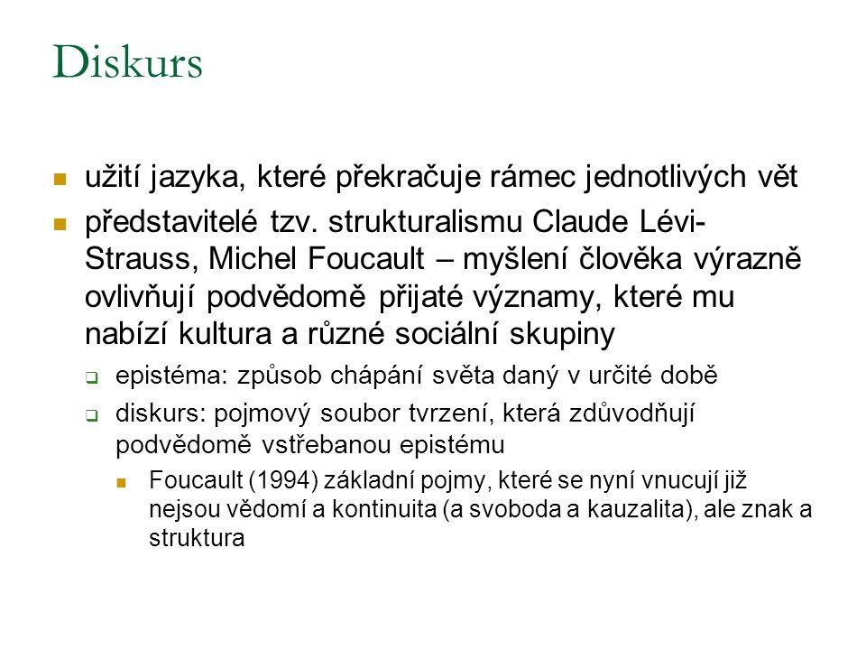 Diskurs užití jazyka, které překračuje rámec jednotlivých vět