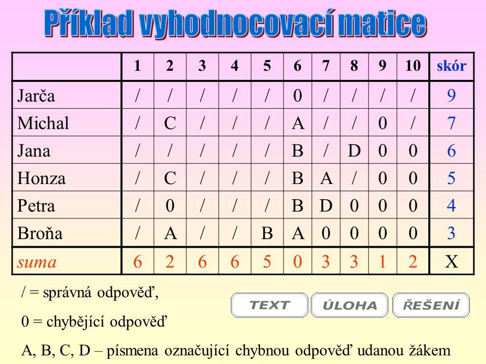 Příklad vyhodnocovací matice