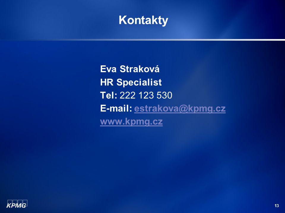 Kontakty Eva Straková HR Specialist Tel: 222 123 530