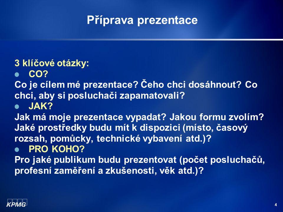 Příprava prezentace 3 klíčové otázky: CO