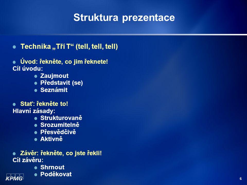 """Struktura prezentace Technika """"Tří T (tell, tell, tell)"""