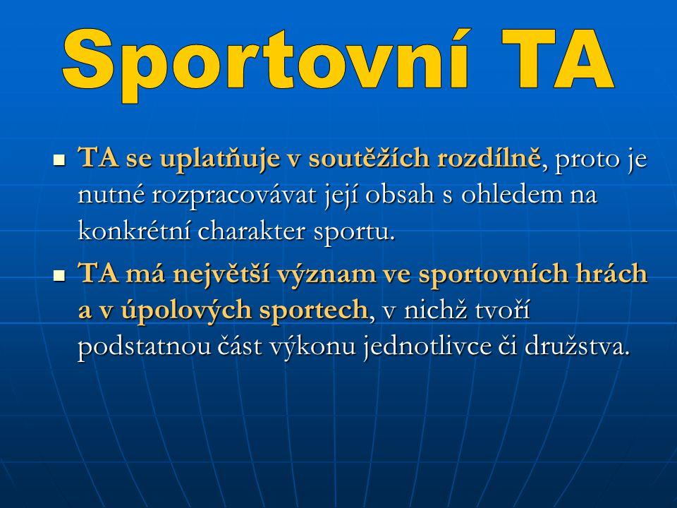 Sportovní TA TA se uplatňuje v soutěžích rozdílně, proto je nutné rozpracovávat její obsah s ohledem na konkrétní charakter sportu.