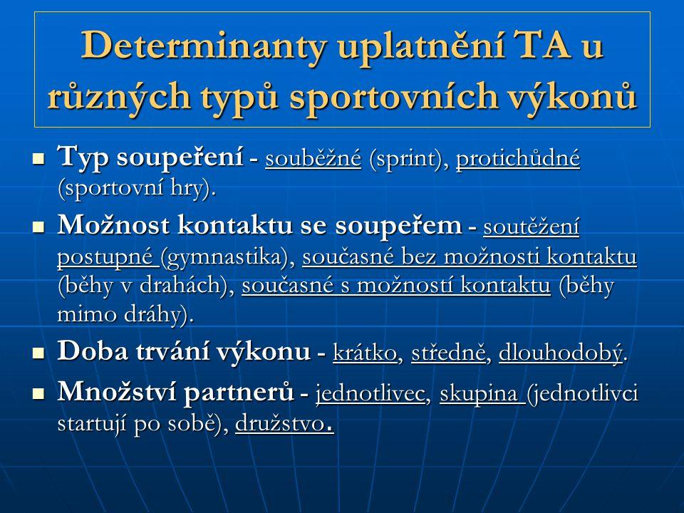Determinanty uplatnění TA u různých typů sportovních výkonů