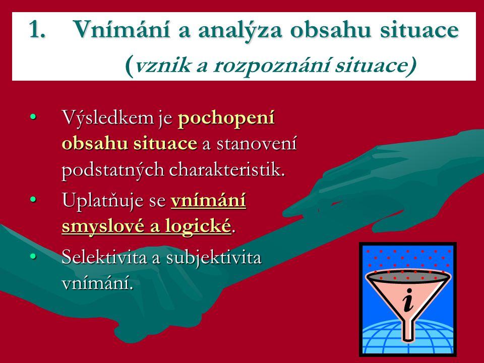 Vnímání a analýza obsahu situace (vznik a rozpoznání situace)