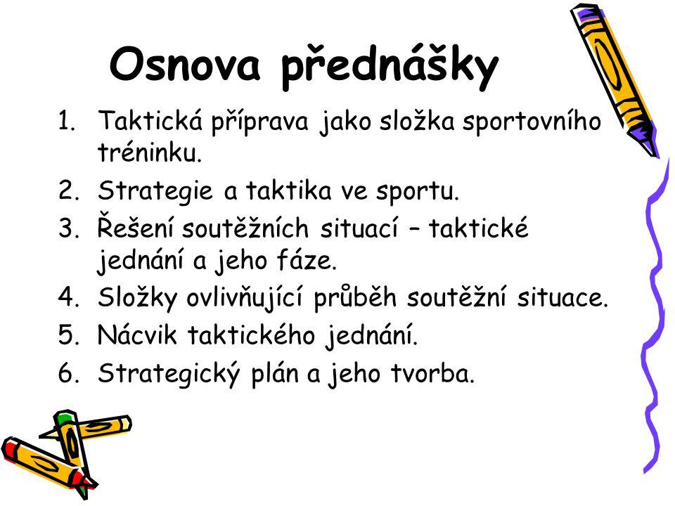 Osnova přednášky Taktická příprava jako složka sportovního tréninku.