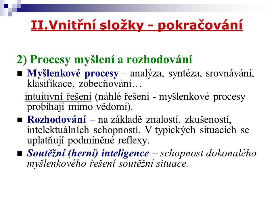 II.Vnitřní složky - pokračování