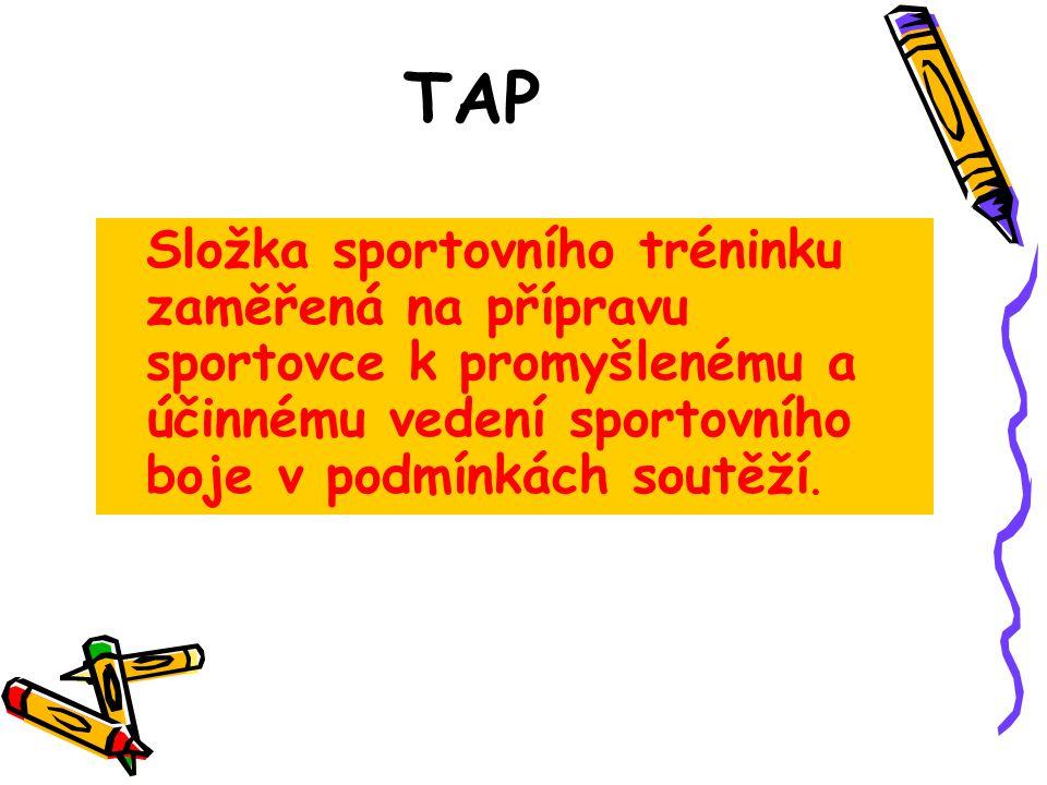 TAP Složka sportovního tréninku zaměřená na přípravu sportovce k promyšlenému a účinnému vedení sportovního boje v podmínkách soutěží.