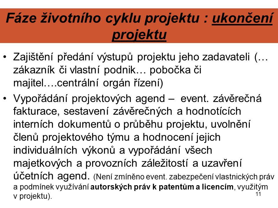 Fáze životního cyklu projektu : ukončení projektu