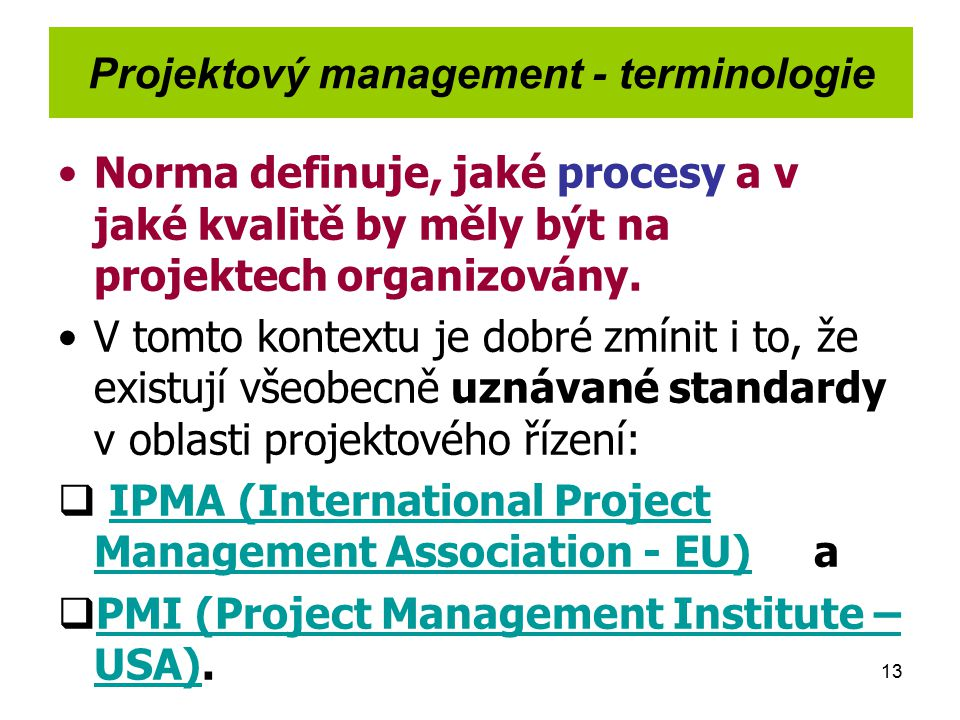 Projektový management - terminologie