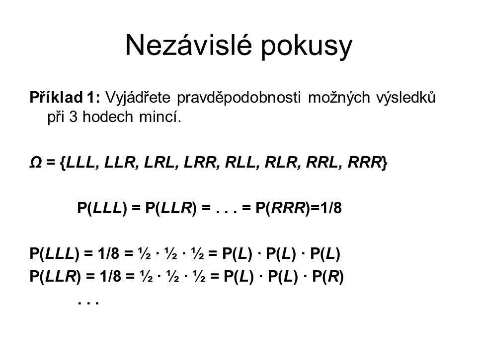 Nezávislé pokusy Příklad 1: Vyjádřete pravděpodobnosti možných výsledků při 3 hodech mincí. Ω = {LLL, LLR, LRL, LRR, RLL, RLR, RRL, RRR}