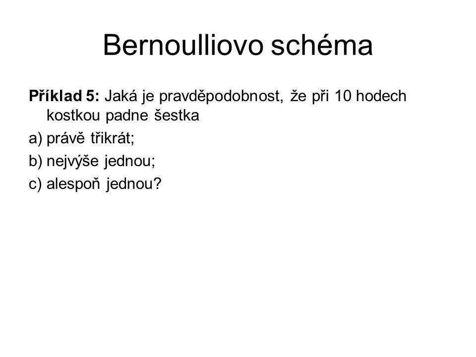 Bernoulliovo schéma Příklad 5: Jaká je pravděpodobnost, že při 10 hodech kostkou padne šestka. právě třikrát;