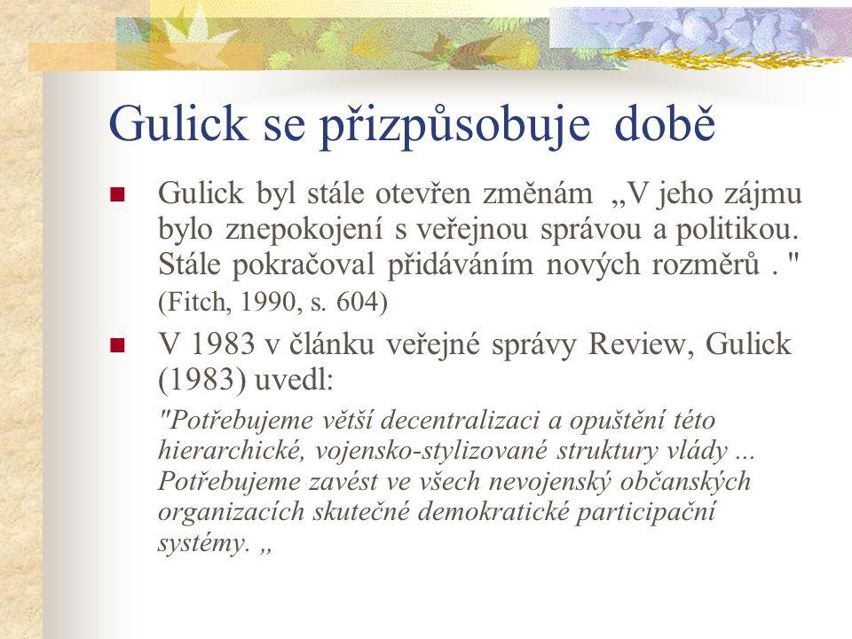 Gulick se přizpůsobuje době