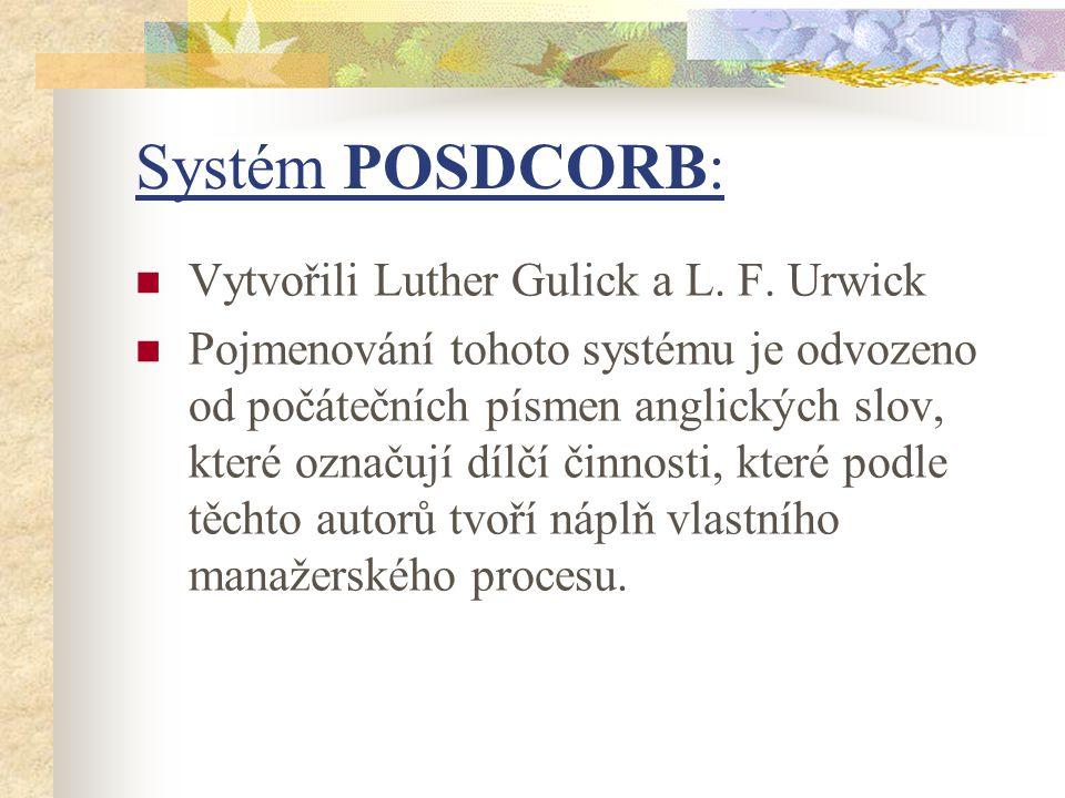 Systém POSDCORB: Vytvořili Luther Gulick a L. F. Urwick