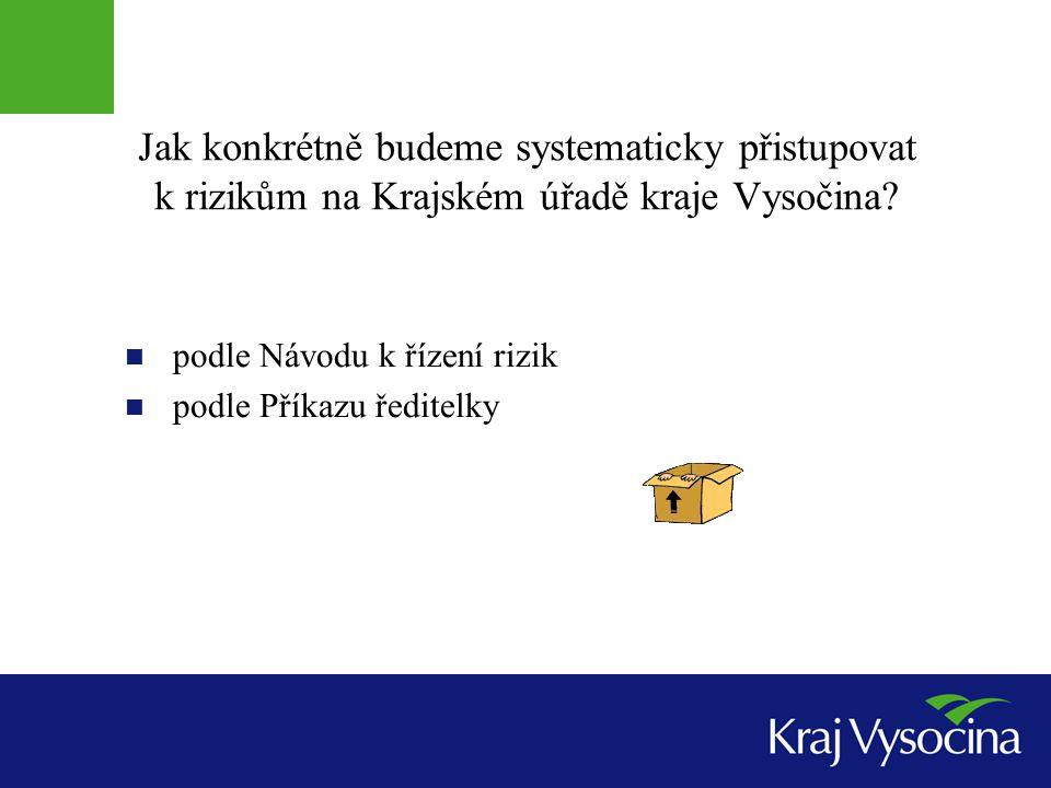 Jak konkrétně budeme systematicky přistupovat k rizikům na Krajském úřadě kraje Vysočina