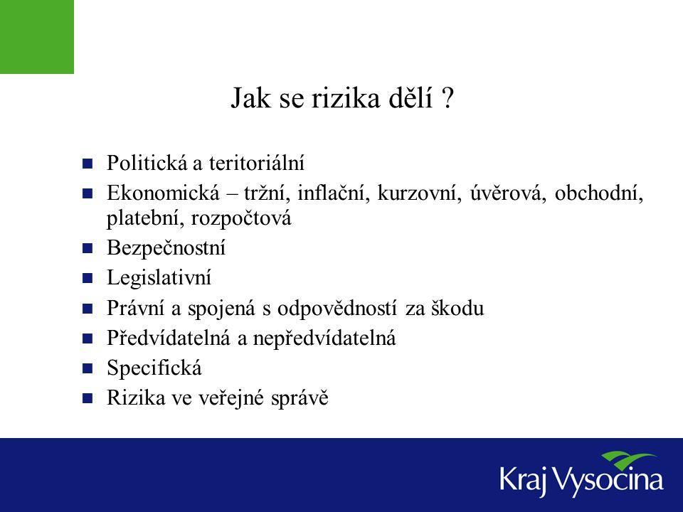 Jak se rizika dělí Politická a teritoriální