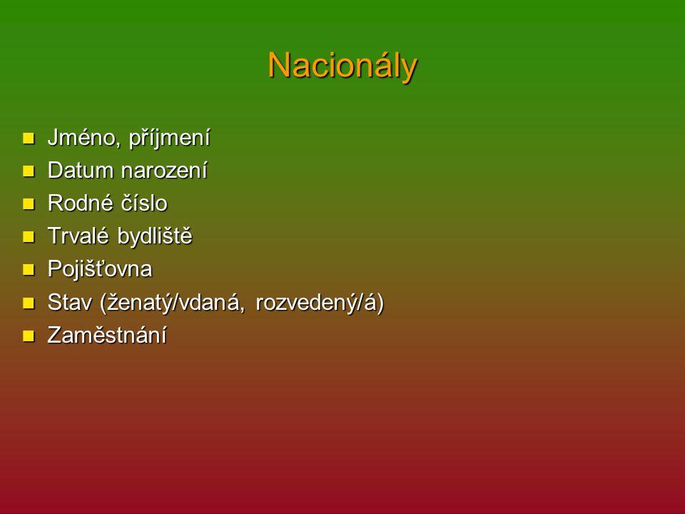 Nacionály Jméno, příjmení Datum narození Rodné číslo Trvalé bydliště