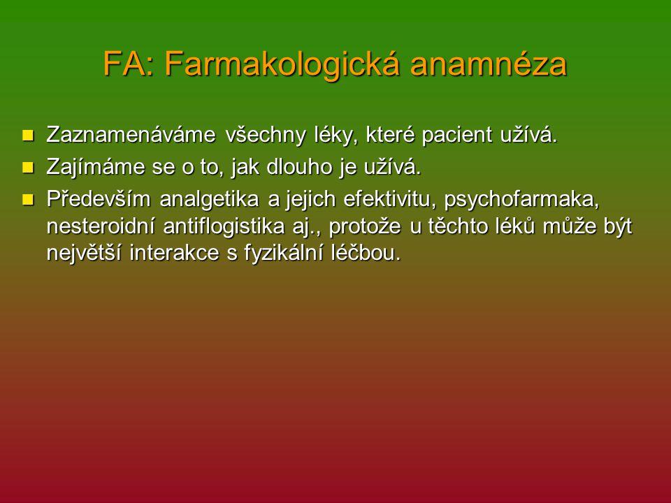 FA: Farmakologická anamnéza