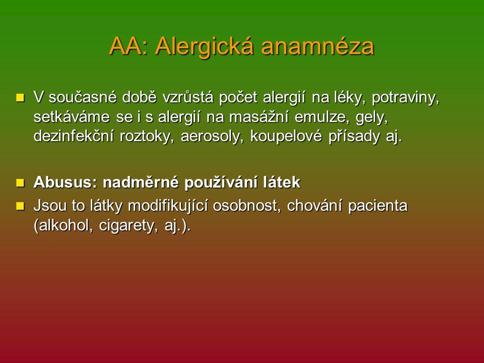 AA: Alergická anamnéza
