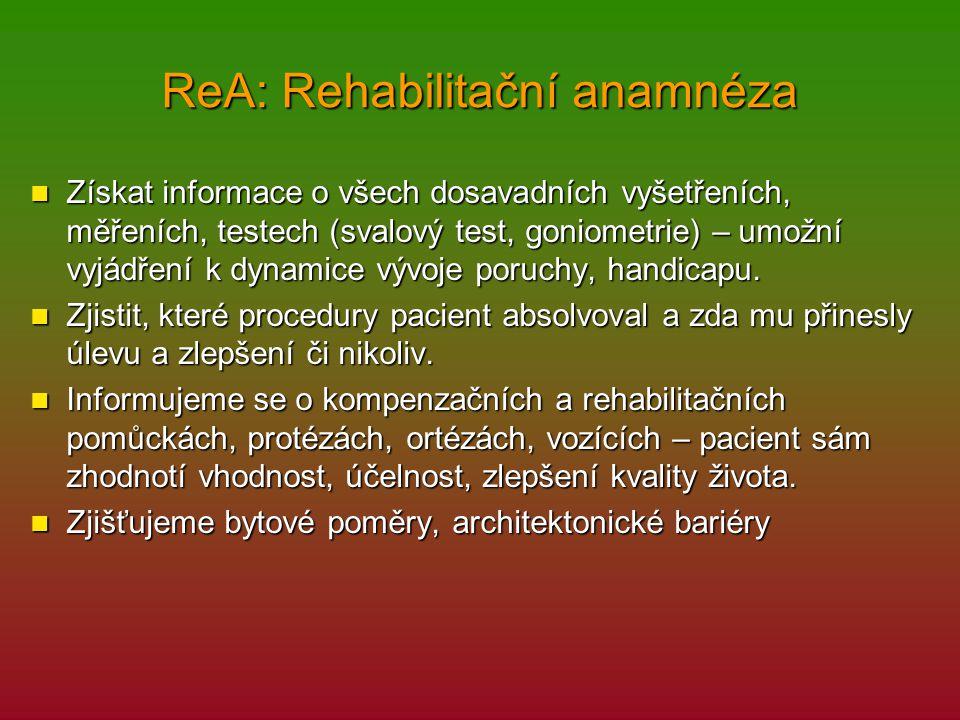 ReA: Rehabilitační anamnéza