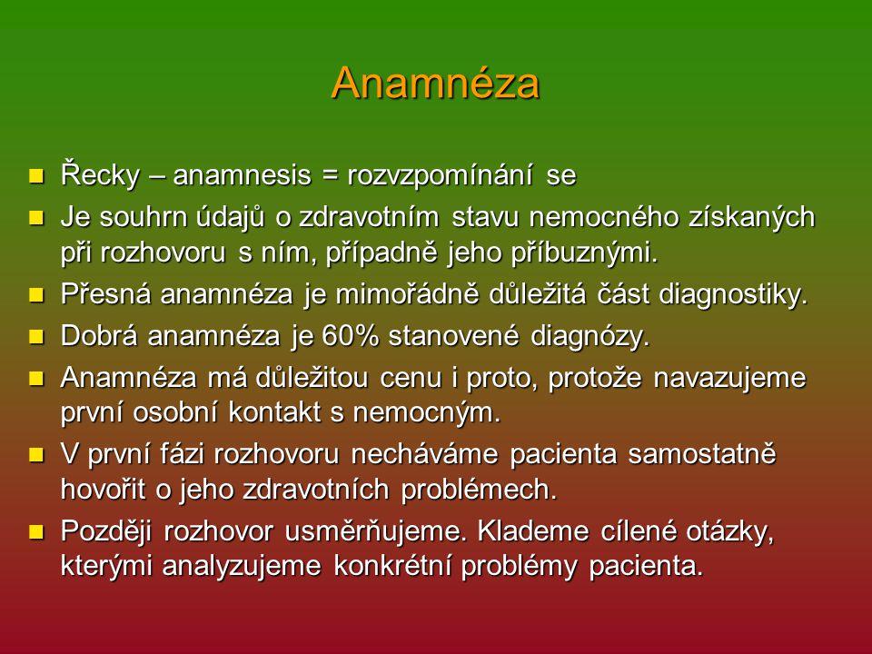 Anamnéza Řecky – anamnesis = rozvzpomínání se