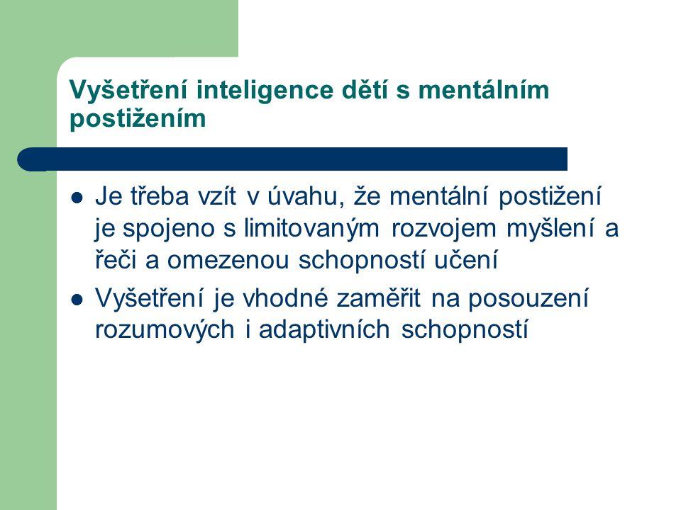 Vyšetření inteligence dětí s mentálním postižením