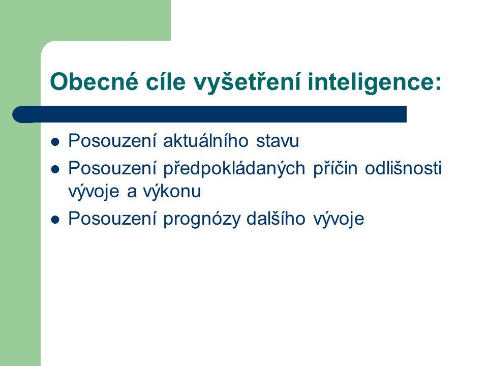 Obecné cíle vyšetření inteligence: